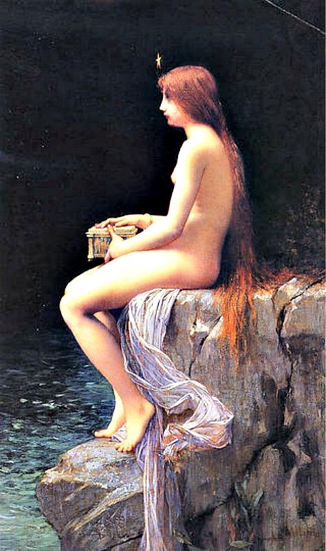La caja de Pandora (1882), óleo obra del pintor Jules Joseph Lefebvre (1834-1912)