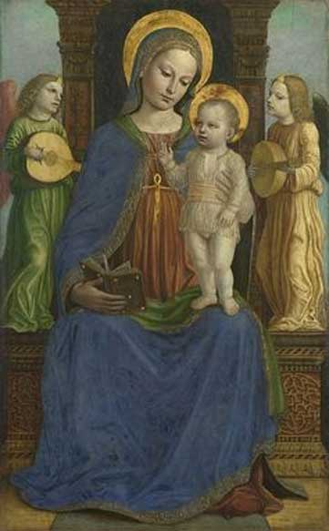 Bernardino Bergognone, 'Virgen y el Niño con dos ángeles', 1490-95, óleo sobre panel. (The National Gallery, London 2017)