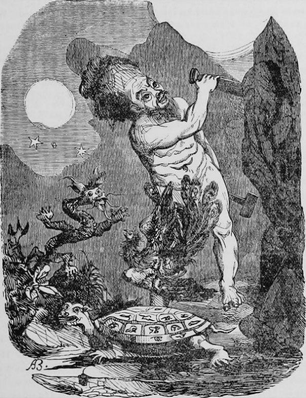 Pangu separando el Cielo y la Tierra. Ilustración extraida del libro 'A history of China' , (1897) de Frederick Wells Williams, (1857-1928). Biblioteca de la Universidad Cornell. (Public Domain)