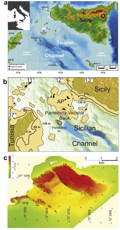 La región estudiada, el Banco de Pantelleria Vecchia, se encuentra hoy sumergida entre las costas de Sicilia y Túnez (Journal of Archaeological Science)