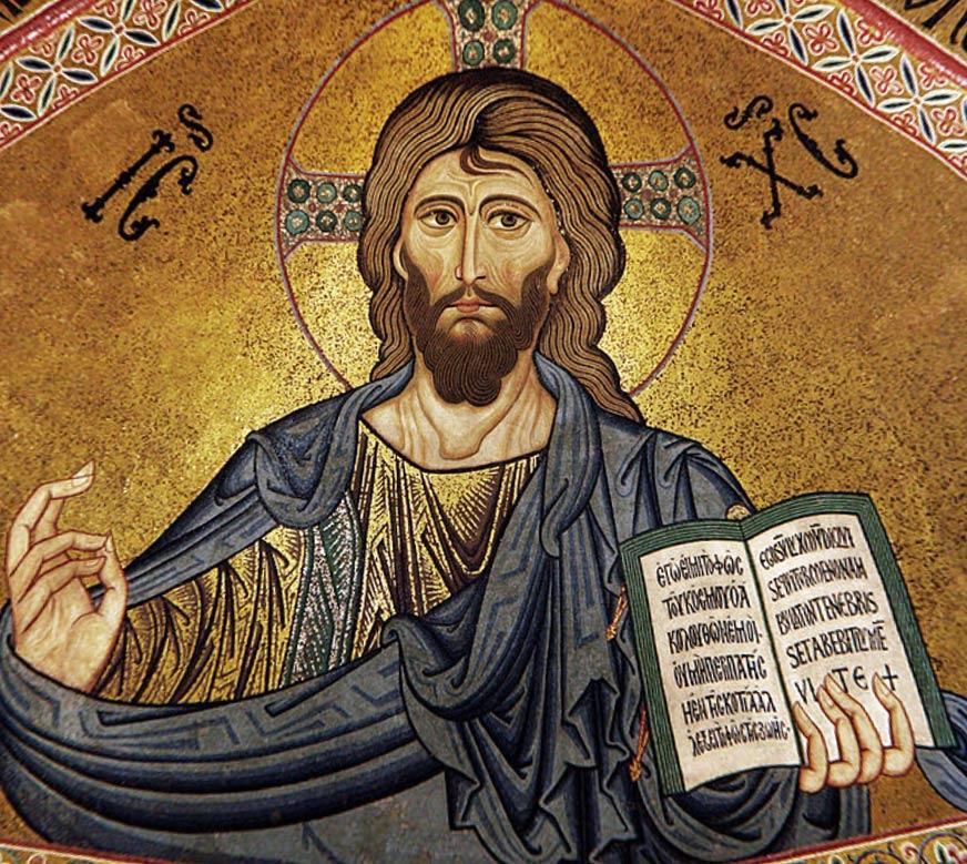 Mosaico de un Cristo Pantócrator de estilo bizantino. Catedral de Cefalú, Sicila, c. 1131. (CC BY-SA 3.0)