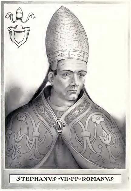 Papa Esteban VI. Ilustración del libro 'Vidas y tiempos de los papas' de Chevalier Artaud de Montor, publicado originalmente en 1842. Antes de que el 'papa efímero' Esteban II fuera eliminado en el año 1961 de la mayoría de las listas de papas, Esteban VI era conocido como Esteban VII (Public Domain)