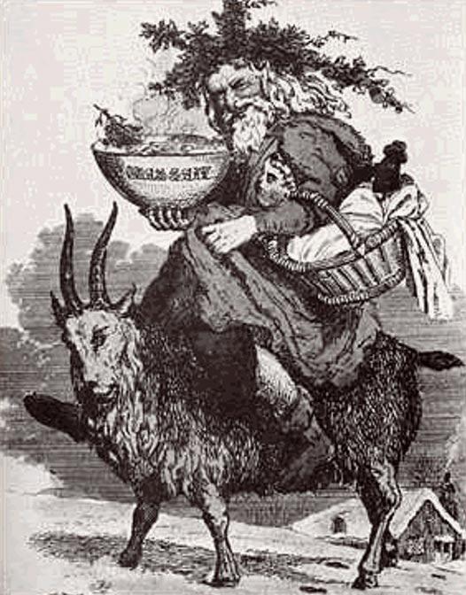 Ilustración de un cuento popular en la que Papá Noel aparece montado a lomos de un macho cabrío. (Public Domain)