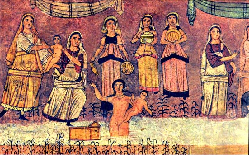 Entre los documentos traducidos hay fragmentos de una tragedia de estilo griego en torno al personaje bíblico de Moisés, que narran cómo se le dio el nombre de Moisés al encontrarlo en la orilla del río. En la imagen, fresco de la Sinagoga de Dura Europos, Siria (año 244 d. C.), en el que se representa el momento en el que Moisés es salvado de las aguas del Nilo. (Public Domain)