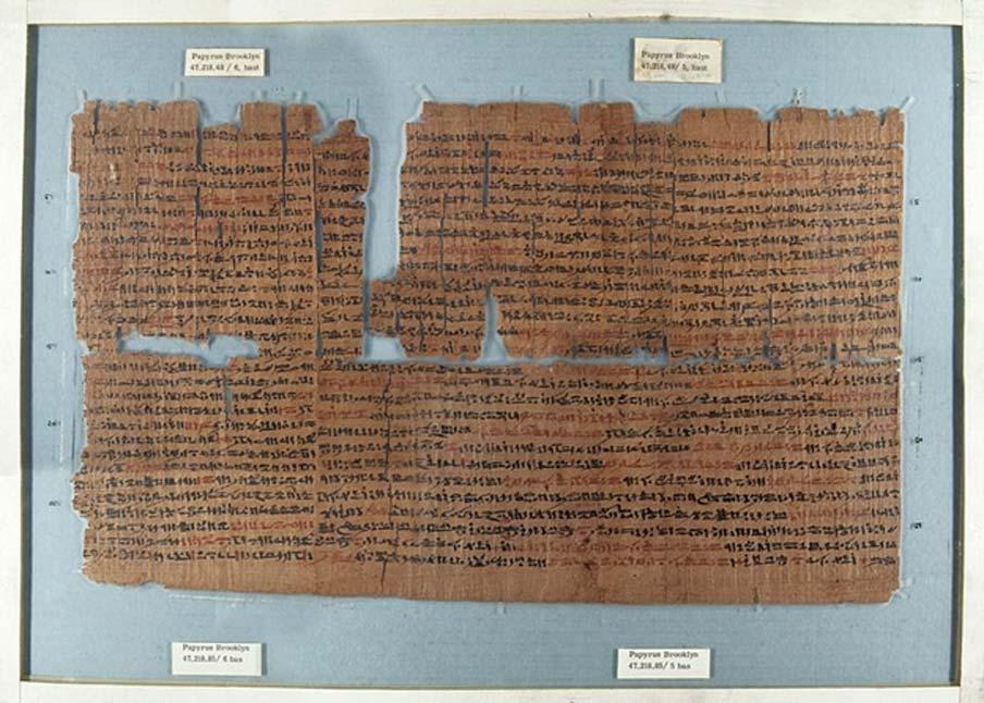 El Papiro de Brooklyn, un antiguo papiro médico egipcio que data de aproximadamente el 450 a. C. (Museo de Brooklyn)