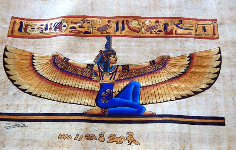 Papiro en el que podemos observar una ilustración de la diosa alada Ma'at (CC BY- NC-ND 2.0)