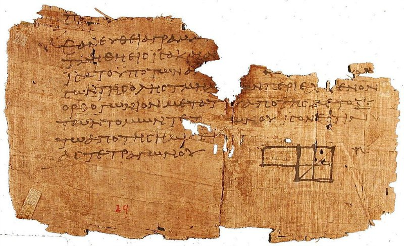Los papiros ahora traducidos fueron recuperados hace más de un siglo junto a miles documentos más en la antigua ciudad egipcia de Oxirrinco. En la imagen, otro papiro de Oxirrinco que muestra un fragmento de los Elementos de Euclides. (Public Domain)