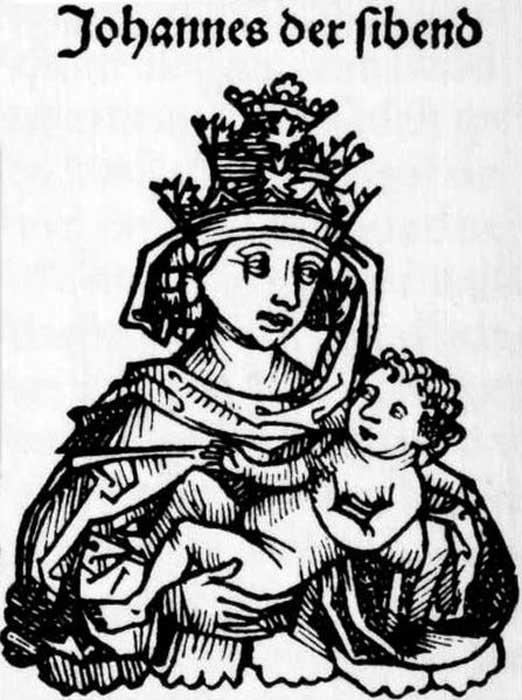 La papisa Juana en las crónicas de Nuremberg. (Dominio público)