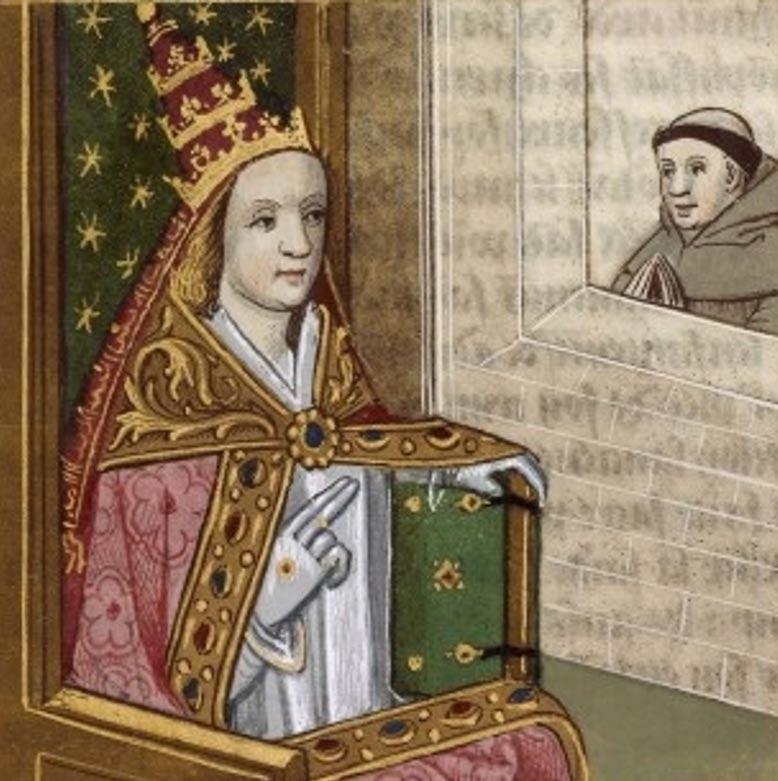 Ilustración de un manuscrito en el que aparece la Papisa Juana coronada con la Tiara Papal. Bibliothèque Nationale de France. Artista desconocido, .c 1560 (en.wikipedia.org)