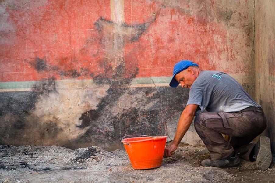 Algunas de las paredes de la casa quedaron algo chamuscadas a consecuencia de la erupción del Vesubio. (Imagen: Parco Archeologico Di Pompeii)
