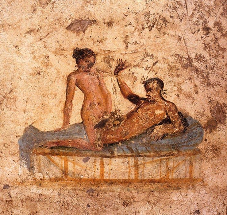Pareja romana desnuda. Fresco de la Casa del ristorante (IX.5.14, habitación f, muro oeste), Pompeya. (62 d. C. – 79 d. C.) (Public Domain)