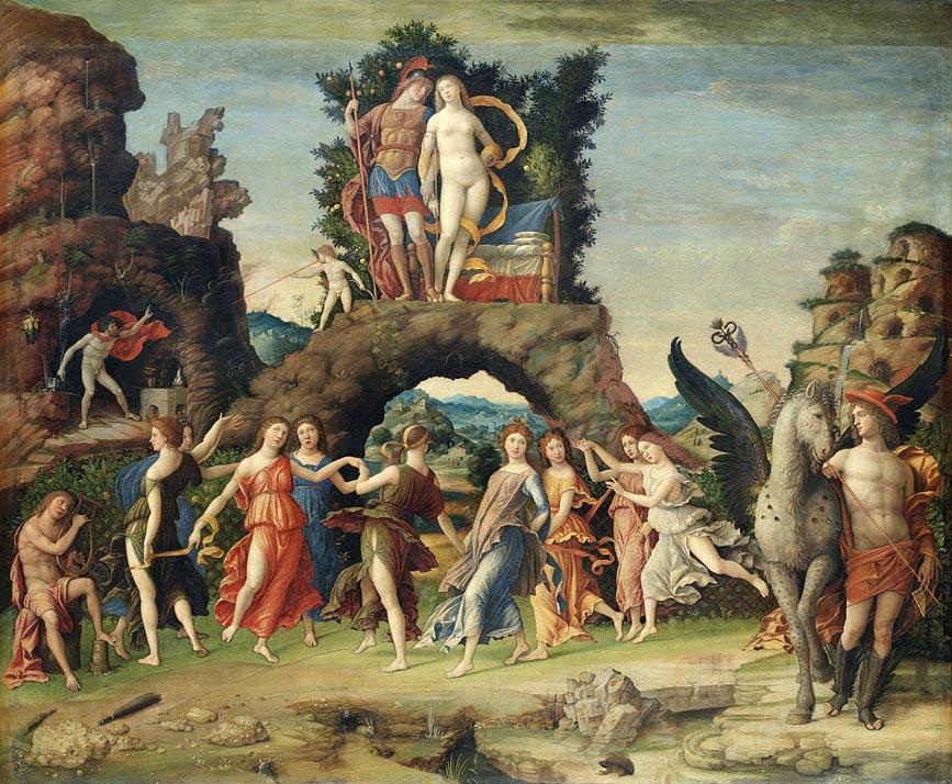 """Pintura del siglo XV: """"Parnaso"""", con las Musas bailando a los pies de Marte y Venus, Andrea Mantegna (Wikimedia Commons)"""