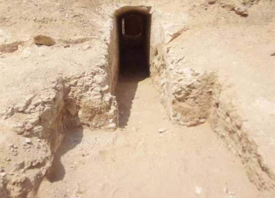 En el cementerio recientemente descubierto un pasadizo abovedado excavado en la piedra conduce a una cripta y otras cámaras. (Ministerio de Antigüedades de Egipto)