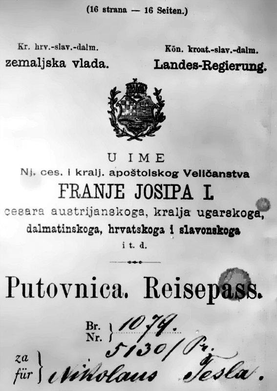 Pasaporte de Nikola Tesla, página 1, (1883). (Public Domain)