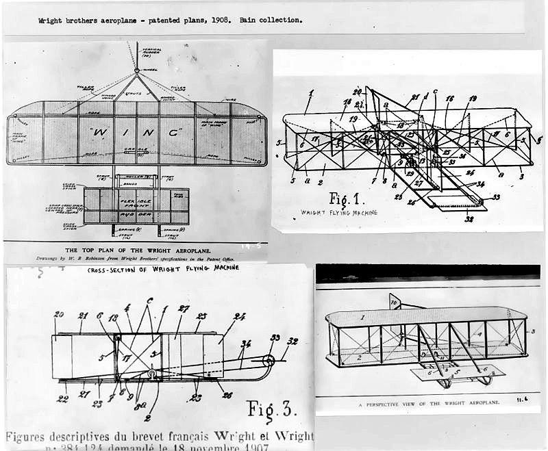 """Imagen de la patente de la primera """"máquina voladora"""", así bautizada por los propios hermanos Wright. (Public Domain)"""