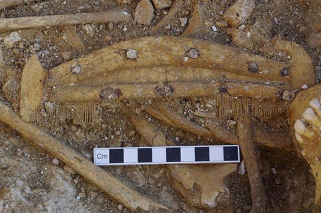 Peine de hueso decorado descubierto al excavar una de las tumbas. (Wessex Archaeology)