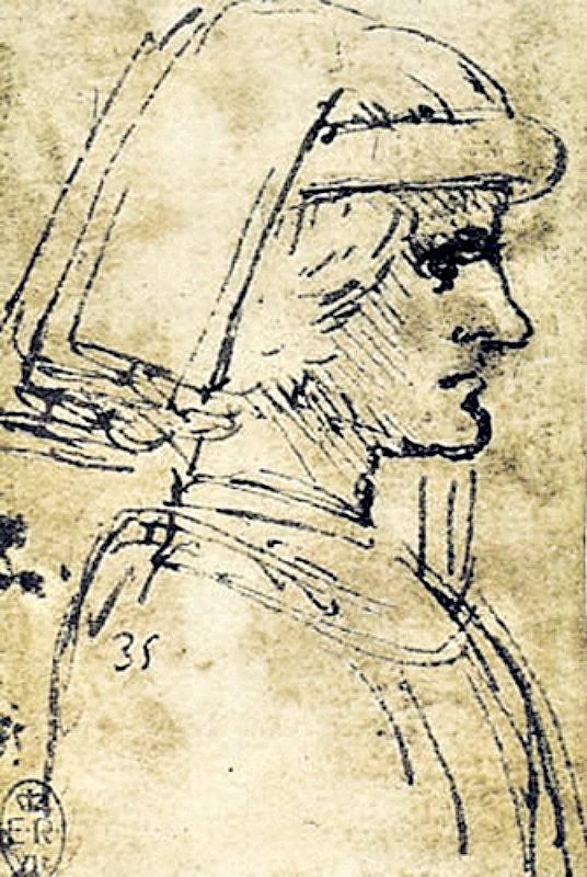 Esbozo del perfil de Lorenzo de Medici dibujado por Leonardo Da Vinci entre los años 1483 y1485 e incluido en el Códice Atlántico. Biblioteca Ambrosiana de Milán, Italia. (Public Domain)