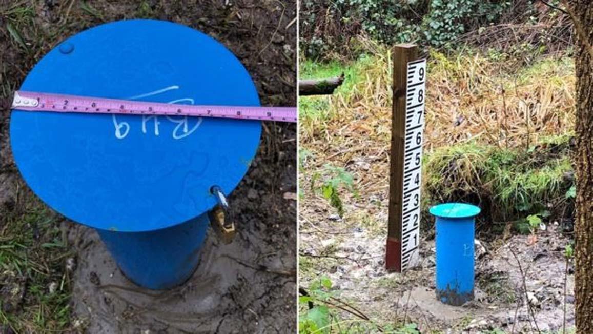 Los ingenieros cavaron un hoyo de 3,5 metros de profundidad perforando una plataforma creada por la mano del hombre hace 6.000 años en Blick Mead. (BBC News)