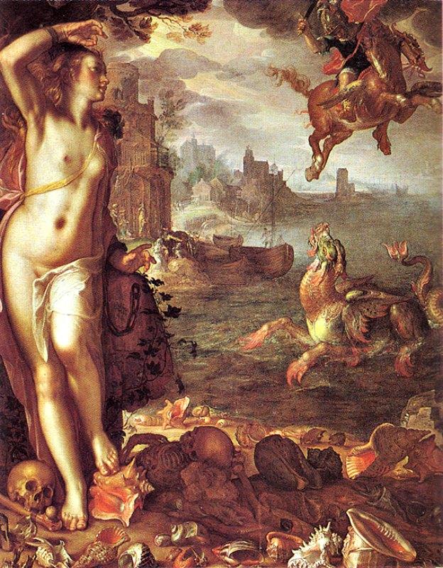 Perseo liberando a Andrómeda, óleo de Joachim Wtewael (1566-1638), Museo del Louvre. El mito de Perseo presenta numerosos elementos comunes con el de San Jorge y el dragón. (Public Domain)