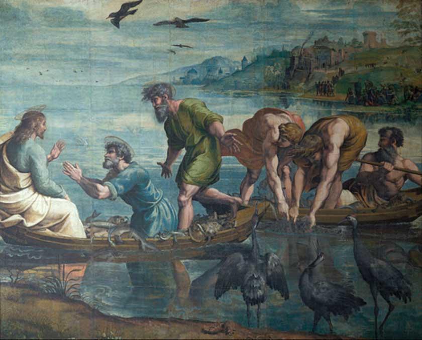 'La pesca milagrosa', 1515, uno de los siete cartones para tapices de la Capilla Sixtina pintados por Rafael que aún se conservan. (Dominio público)