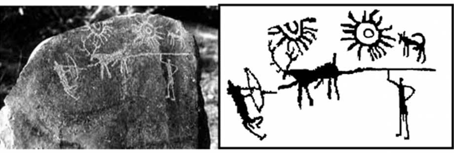 Izquierda, fotografía de los petroglifos. Derecha, boceto de los mismos. (Imagen: IGNCA)