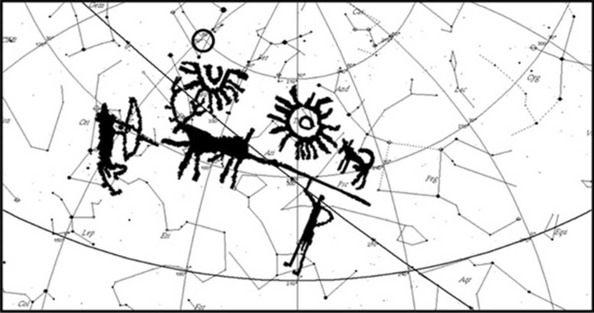 Mapa estelar de la región HB9 para el 5700 a. C., con la imagen del antiguo petroglifo superpuesta. (Imagen: Vahia et al)