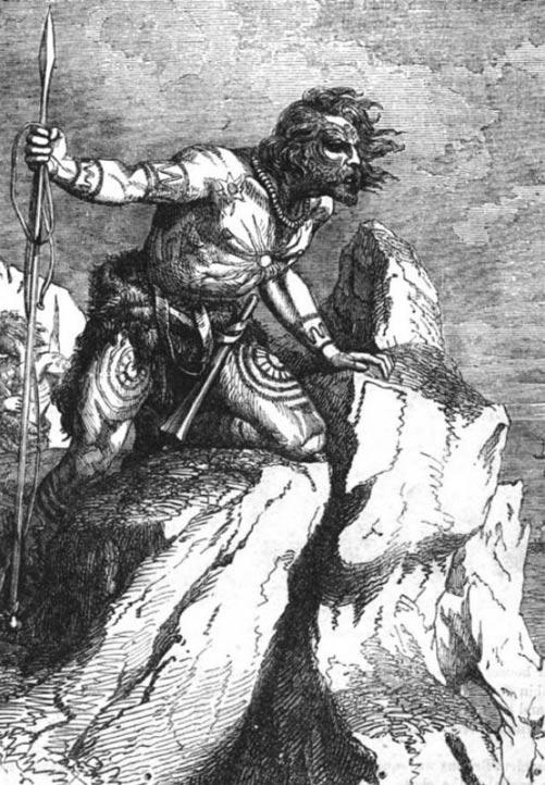 Picto oteando el mar, tal como aparece en la ilustración de un libro del siglo XIX (Wikimedia Commons)