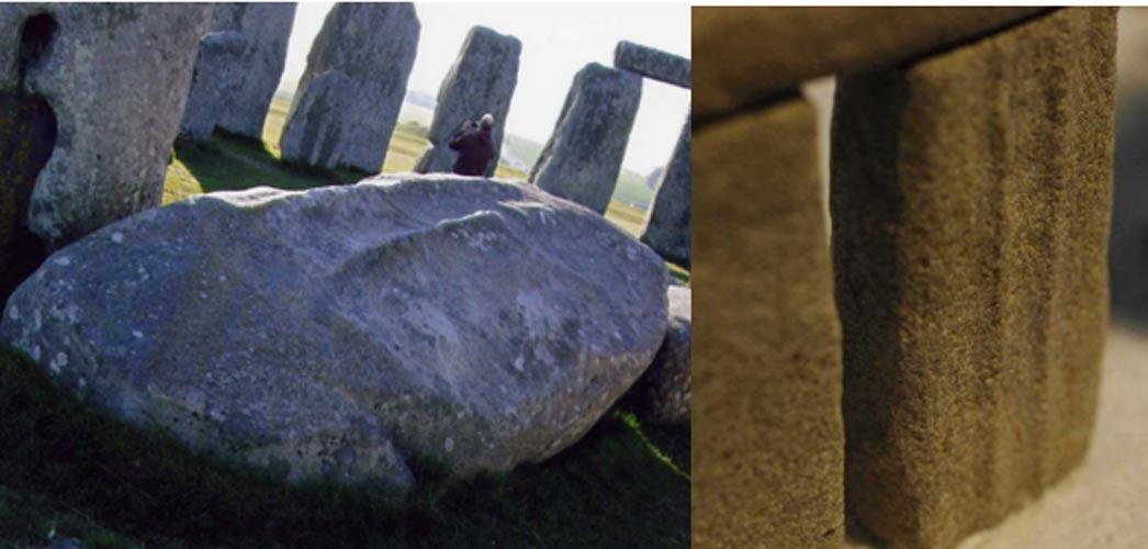 Piedra 59 con símbolos labrados sobre su superficie (líneas paralelas). Izquierda: la Piedra 59 hoy en día. Derecha: Réplica de la Piedra 59 tal con su probable aspecto cuando aún estaba en pie. Fotografías: Lloyd Matthews