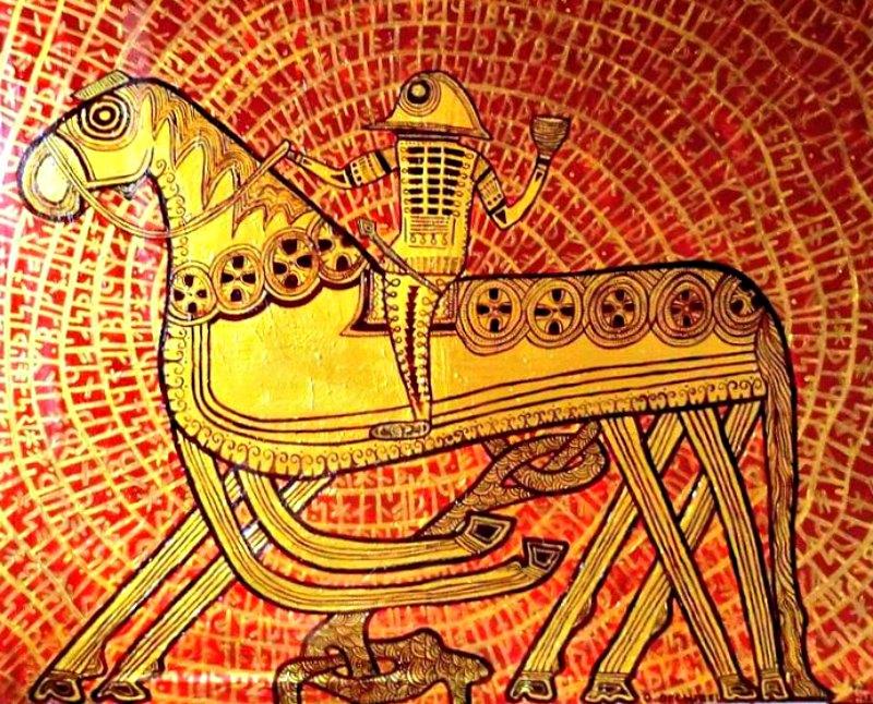 Odín a lomos de su caballo Sleipnir, imagen de la Piedra de Tjängvide, hallada en 1844 en la localidad sueca del mismo nombre. En la mitología nórdica, Sleipnir, la montura de Odín, tenía ocho patas y estaba considerado el mejor de los caballos. Las pinturas realizadas sobre la Piedra de Tjängvide datan de los siglos VIII-IX. (Becherel/CC BY SA 3.0)