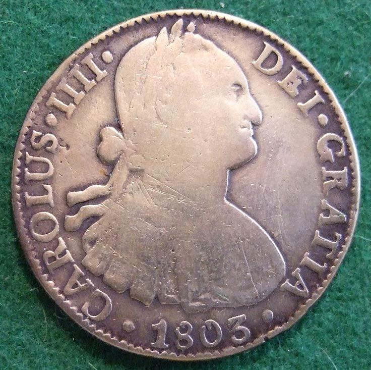 Pieza de a ocho española de 1803, un tipo de moneda de plata que circulaba por todo el mundo en su época. (Fotografía: Jerry Woody/Wikimedia Commons)