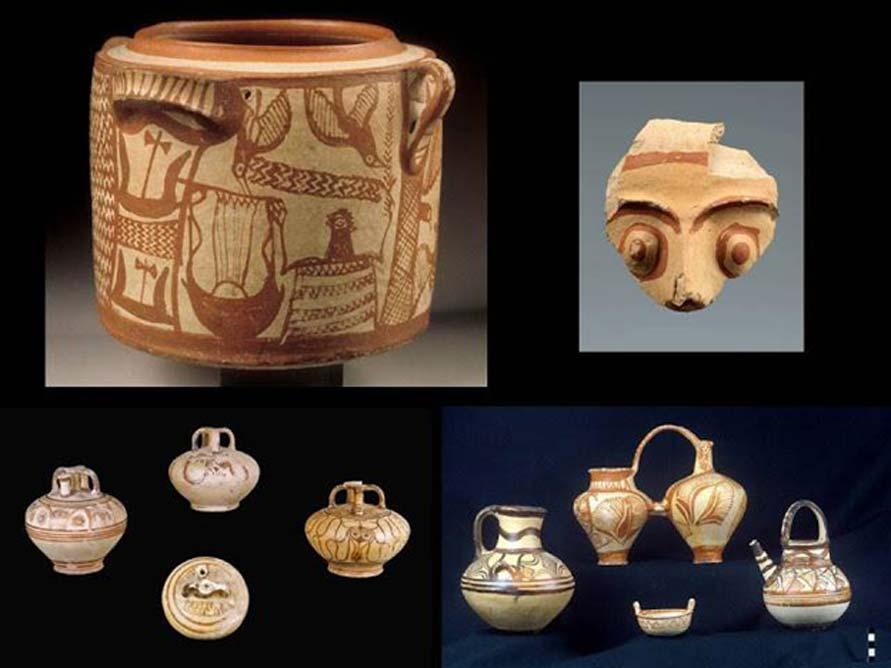 Piezas cerámicas halladas en el palacio micénico de Cidonia. (Maria Andreadaki-Vlazaki via ANA-MPA)