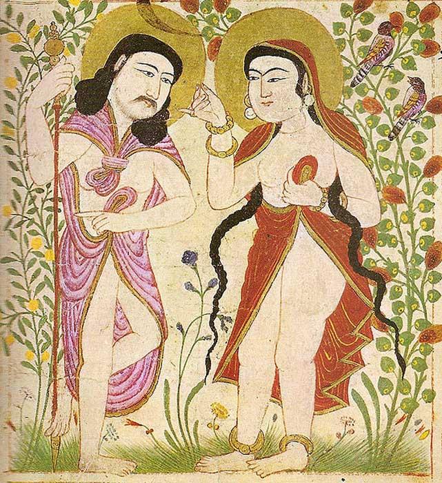 Pintura de Manafi al-Hayawan ('Los animales útiles') que representa a Adán y Eva. Descubierta en Maragh, Irán mongol. (Dominio público)