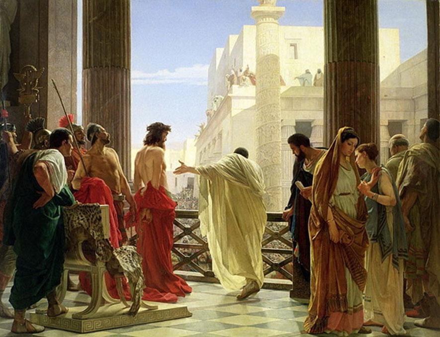 Ecce Homo (He aquí el hombre), óleo de Antonio Ciseri que muestra a Poncio Pilatos presentando a Jesús a las masas. (Dominio público)