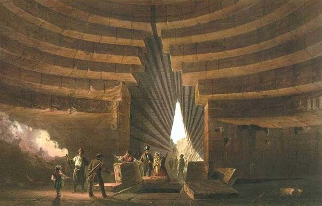 """Detalle. Pintura de 1856 en la que se observa un kurgán, concretamente el conocido como """"Tumba de Mitrídates."""" (Dominio público)"""