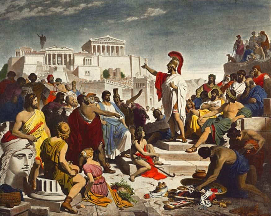 Pintura del siglo XIX obra de Philipp Foltz en la que podemos ver al político ateniense Pericles pronunciando su famoso discurso fúnebre ante la Asamblea. (Dominio público)