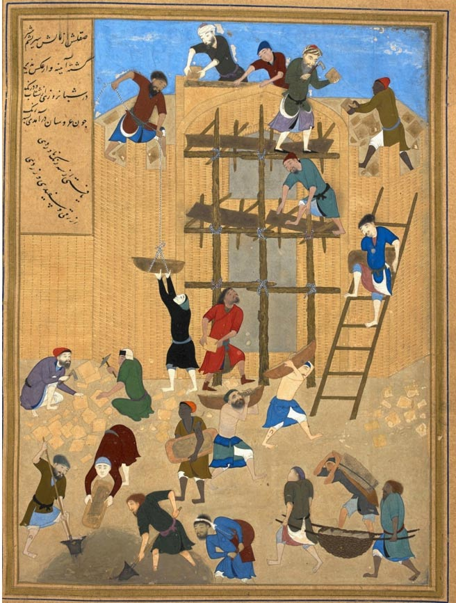 Pintura de 1494-1495 obra de un gran artista del Renacimiento Timúrida, Kamal-ud-din Bihzad, en la que se muestra la construcción de la fortaleza de Kharnaq (Dominio público)