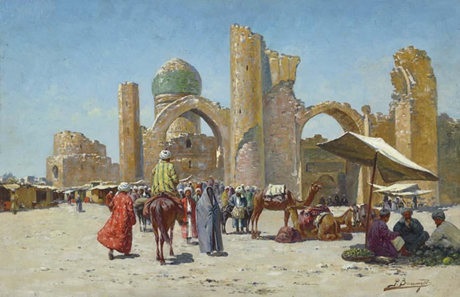 Samarkanda, pintura de Richard-Karl Karlovitch. Samarkanda era una antigua ciudad de la Ruta de la Seda situada a mitad de camino entre China y el Mediterráneo, en lo que hoy es Uzbekistán. (Dominio público)