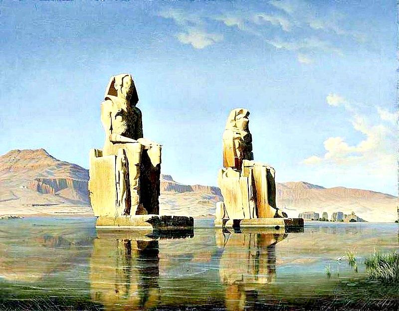Los colosos egipcios de Memnón (1846), óleo del austriaco Hubert Sattler (1817-1904). Museo de Salzburgo, Austria. (Public Domain)