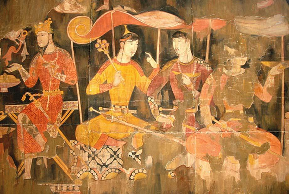 Pintura sogdiana en la que podemos observar a comerciantes sogdianos durante la época medieval. (Dominio público)