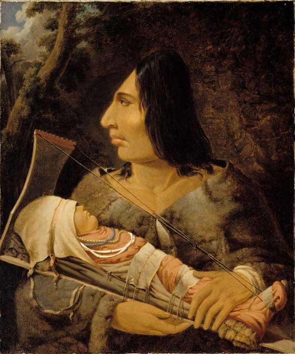 Pintura de Paul Kane en la que podemos observar a un niño chinook sometido a un aplanamiento de cabeza mientras un adulto vigila el proceso. (Dominio público)