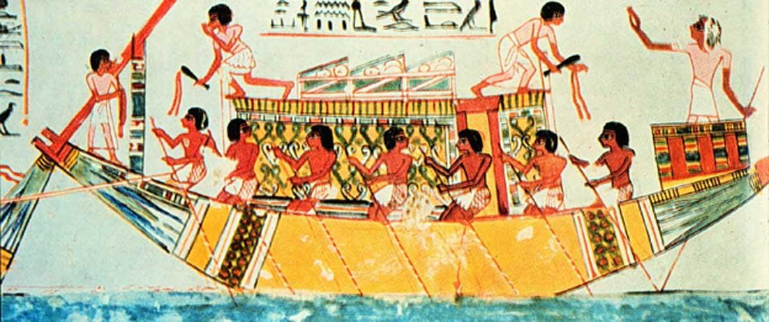 """Pintura de una tumba egipcia del 1450 a. C. Título: """"Oficial con vara utilizada como sonda... ordena a la tripulación que reme lentamente. Capataces con látigos se aseguran de que los remeros respondan adecuadamente."""" (Dominio público)"""