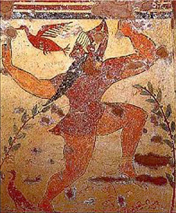 Pintura mural de Fersu corriendo o danzando en la Tumba de los Augures, finales del siglo VI a. C., Tarquinia. (Public Domain)
