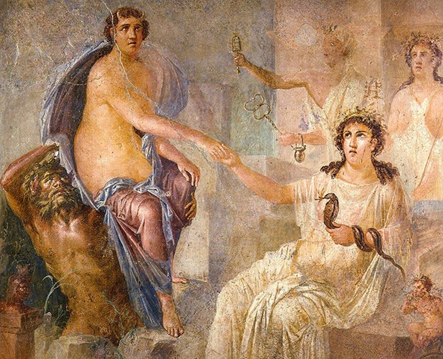 Pintura mural en la que Isis da la bienvenida a Ío a su llegada a Egipto. Fresco romano del templo de Isis de Pompeya. (Public Domain)