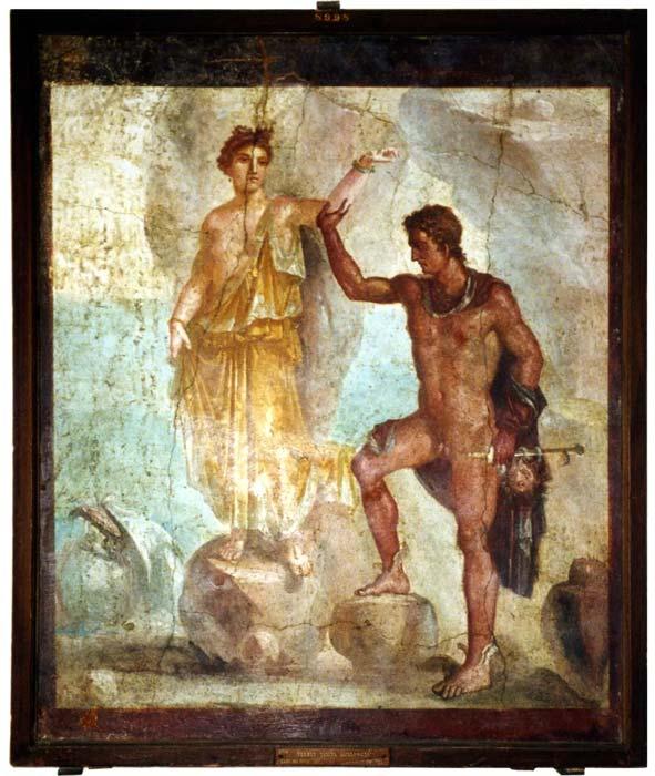 Pintura mural de Pompeya en la que podemos ver a Perseo rescatando a Andrómeda. (CC BY SA 2.5)