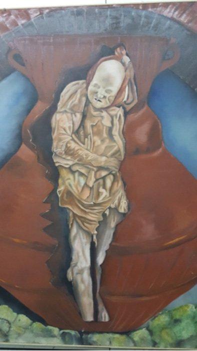 Pintura mural: la momia de Fray Lázaro dentro del cántaro en el que el franciscano fue enterrado. Fotografía: Chris Aguilar