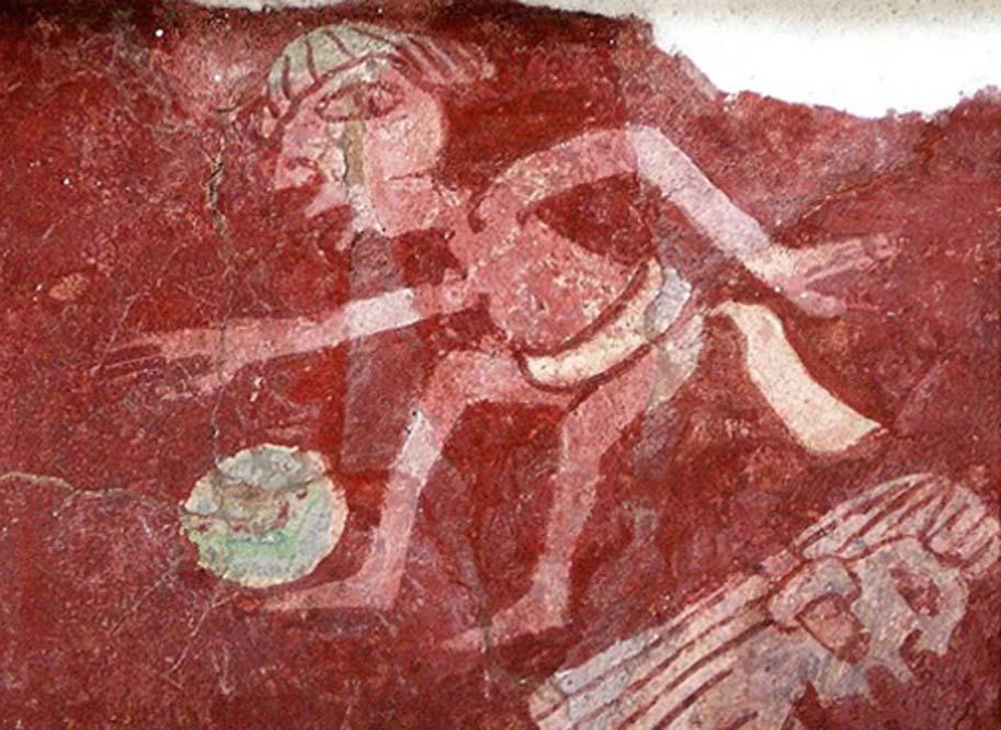 Detalle de reproducción de una pintura mural del complejo Tepantitla de Teotihuacán en la que aparece un jugador de pelota (CC BY 2.0)