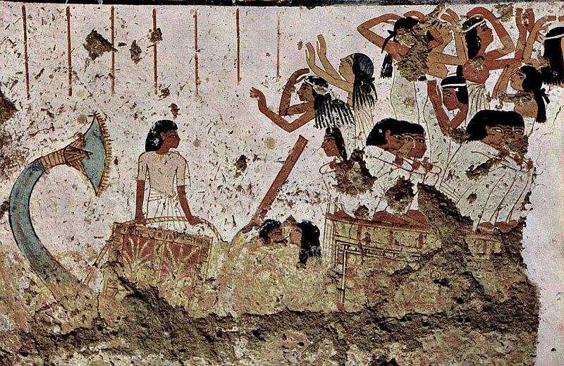 Pintura mural de la tumba de Nebamun, dinastía XVIII, Tebas, en la que pueden observarse diferentes peinados del antiguo Egipto. (Public Domain)