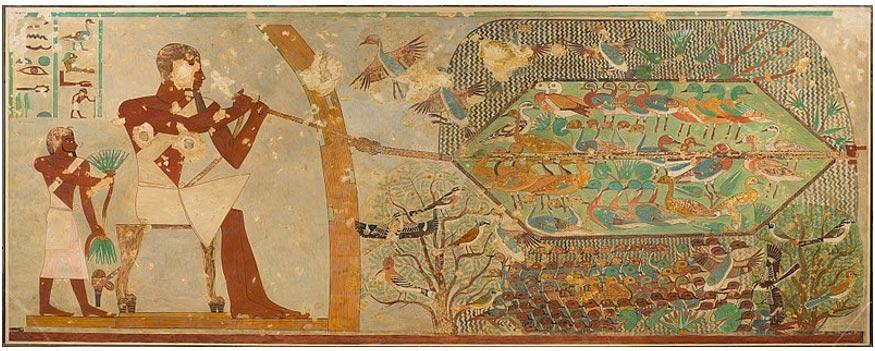 Caza de aves con red, pintura de la tumba de Khnumhotep II. (CC0)