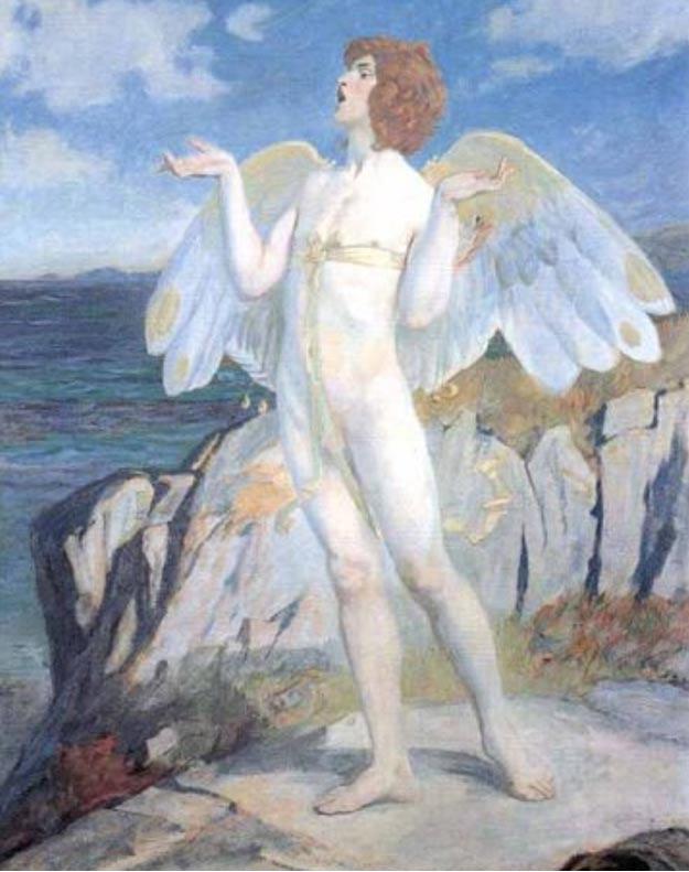 Pintura de la época victoriana representando a Oengus / Aengus (Wikimedia Commons)