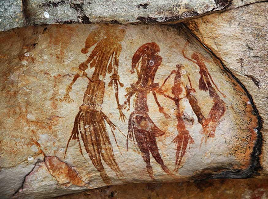 Pinturas rupestres de Bradshaw, en la región de Kimberley de Australia Occidental, halladas junto a Kalamburu Road, cerca del río King Edward. Se calcula que la antigüedad de estas pinturas es de entre 26.500 y 20.000 años. (CC BY SA 2.0)